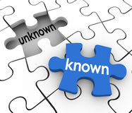 Known Unknown Puzzle Piece Hole Fill in Missing Information. Known word on a puzzle piece about to fill in a hole marked Unknown to illustrate finding missing Royalty Free Stock Photography