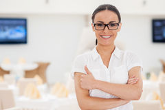 She knows everything about restaurant business. Royalty Free Stock Photography