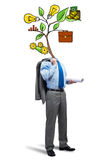 He knows how to earn money. Faceless businessman on white background with drawn growth concept instead of head Royalty Free Stock Photography