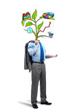 He knows how to earn money. Faceless businessman on white background with drawn growth concept instead of head Stock Photography