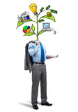 He knows how to earn money. Faceless businessman on white background with drawn growth concept instead of head Stock Image