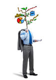 He knows how to earn money. Faceless businessman on white background with drawn growth concept instead of head Royalty Free Stock Photo