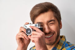 He knows how to make a good shot. Stock Images