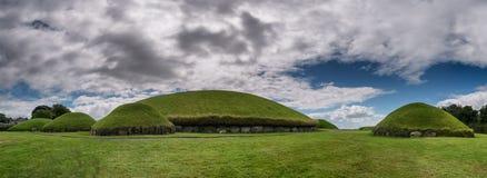 Knowth新石器时代的段落坟茔,主要土墩在爱尔兰 库存图片