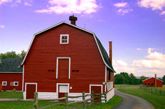 Knox Farm Barns. Large red barn located at the historic Knox Farm State Park in East Aurora, NY Stock Image