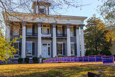 Knox Hall Strong Donald Trump Supporter. A picture of historic Knox Hall located in downtown Montgomery, Alabama.  The lawn is riddled with Donald Trump campaign Stock Photography
