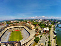 Knoxville over Stadium. Knoxville skyline over Neyland Stadium Stock Image