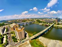 Knoxville riverfront. Riverfront flyby over gay street Royalty Free Stock Photo