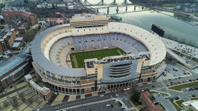 Knoxville Stadium view. Knoxville Stadium profile with river backdrop Stock Photo