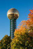 Knoxville Sunsphere. Knoxville, Tennessee Sunsphere with fall foliage and blue sky Stock Images