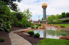 Knoxville Sunsphere (horizontal). Sunsphere, bridge and water in Knoxville Tennessee Royalty Free Stock Photo