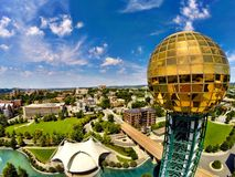 Knoxville Sunsphere Tennessee. Close flyby of the Knoxville Sunsphere overlooking Royalty Free Stock Photos