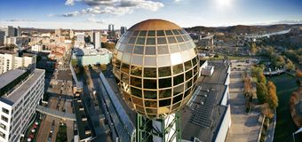 Knoxville, Tennessee Closeup Sunsphere Flyby royalty free stock photo