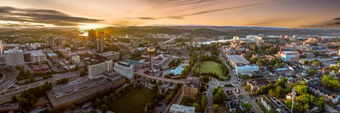 Knoxville, Tennessee Early morning Panorama royalty free stock photo