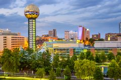 Knoxville, Tennessee, USA. City skyline at World's fair Park stock photography