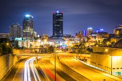 Knoxville, Tennessee, USA. Downtown cityscape over the highway royalty free stock image
