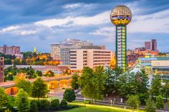 Knoxville, Tennessee, USA Skyline. Knoxville, Tennessee, USA downtown skyline at twilight royalty free stock image