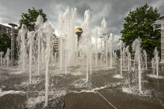 Knoxville Tennessee. Knoxville, Tennessee, USA downtown at World's Fair Park fountains Royalty Free Stock Photos