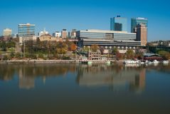 Knoxville TN. Skyline of Knoxville Tennessee from the Chapman st. bridge along the Tenneessee river Stock Images