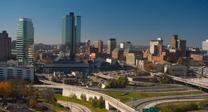 Knoxville TN. Skyline of Knoxville Tennessee showing freeway system, business district, and Sunsphere (center -background Royalty Free Stock Photo