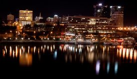 Knoxville TN (night). Skyline of Knoxville Tennessee from the Chapman st. bridge along the Tenneessee river at night Royalty Free Stock Images