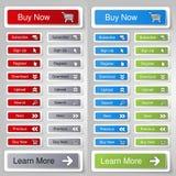 Knöpfe für Website oder APP Knopf - Kauf jetzt, unterzeichnen, melden sich, registrieren, herunterladen, laden, suchen an, folgen Stockfotografie