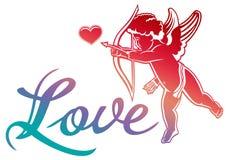 Künstlerische schriftliche Liebe ` des einzigen Worts! ` und Amorjagd für Herzen Lizenzfreie Stockbilder