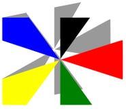 Künstlerischer Stern mit olympischen Farben lokalisiert Stockbild
