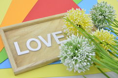 künstliche Blume auf orange, rotem, blauem und grünem Hintergrund geben romantisches Blickkonzept mit zwei Marienkäfer a Stockbilder