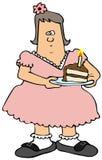 Knubbig flicka som äter födelsedagkakan vektor illustrationer