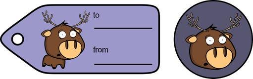 Knubbig klistermärke för giftcard för hjorttecknad filmexprression Fotografering för Bildbyråer