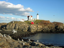 Knubble Light Panorama - Maine. Famous Knubble Lighthouse in York, Maine Royalty Free Stock Photo