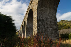 The Knucklas Viaduct carries the Heart of Wales Railway. Stock Image