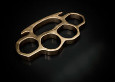 Knuckle-duster with copy space on dark background 3d illustratio Stock Photos