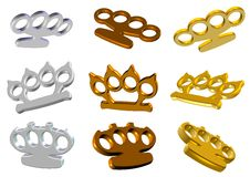 Knuckle dusters 3d set. A set of 3d golden and white knuckle dusters Stock Photos