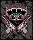 Knuckle and gun vector hand drawing vector illustration
