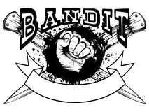 Knuckle and knifes. Vector illustration hand with brass knuckle on crossed knifes and grunge background. Inscription bandit. For tattoo or t-shirt design Royalty Free Stock Image