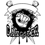 Knuckle and knifes. Vector illustration hand with brass knuckle on crossed knifes and grunge background. Inscription gangster. For tattoo or t-shirt design Stock Image