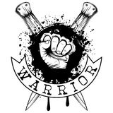 Knuckle and knifes. Vector illustration hand with brass knuckle on crossed knifes and grunge background. Inscription warrior. For tattoo or t-shirt design Stock Image