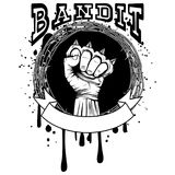 Knuckle. Vector illustration barbed wire and brass knuckle. Inscription bandit. For tattoo or t-shirt design Stock Photography