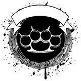 Knuckle. Vector illustration barbed wire and brass knuckle. For tattoo or t-shirt design Royalty Free Stock Images