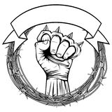 Knuckle. Vector illustration barbed wire and hand with brass knuckle. For tattoo or t-shirt design Royalty Free Stock Photos