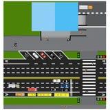 Knuje drogę, autostrada, ulica, z sklepem Z różnymi samochodami Skrzyżowania i parking karty ilustracji