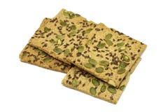 Knusperige Kekse mit Samen und Kürbis des indischen Sesams Lizenzfreies Stockfoto