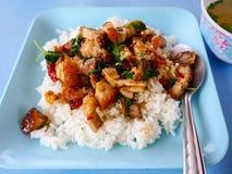 Knusperiges Schweinefleisch mit Basilikum feuerte Reis u. Suppe ab Lizenzfreie Stockfotos