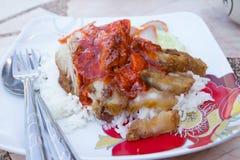 Knusperiges Schweinefleisch mit Reis Lizenzfreies Stockbild