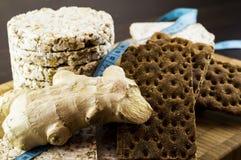 Knuspriges Brot und Ingwer Stockbild