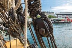 Knutpunkt, trefaldiga deadeyes och tjocka rep på skeppet på Sydney Harb Royaltyfria Bilder