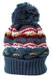 Knycken skidar den blåa isolerad vit bakgrund för rät maska hatten arkivfoto