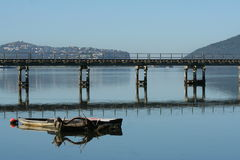 Knysna lagoon with rail bridge in front Royalty Free Stock Photo